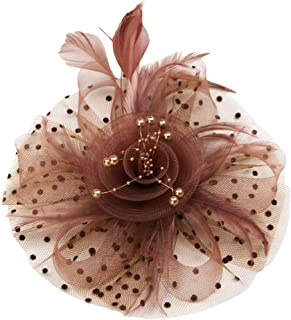 Xiang Ru Vintage Flax Headwear Gauze Hat Fascinator Polka Dot Mesh Flower with Small Beads for Women