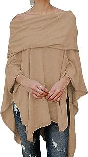 Frieed Womens Stylish Loose Irregular Plain Cape Poncho Blouse Shirt Tops