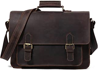 "Men's Accessories Mens Retro Leather Business Briefcase Crossbody Satchel for 14"" 13.3"" 12"" Laptop Outdoor Recreation (Color : Coffee Color)"