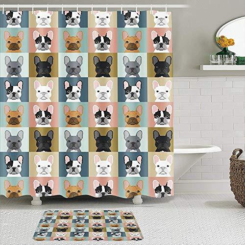 VINISATH 2 Set di tende da doccia, con tappetino antiscivolo,Tema animale del bulldog francese,Tende da Bagno Lavabile Impermeabili con 12 Ganci,Decorazioni per la casa in Poliestere