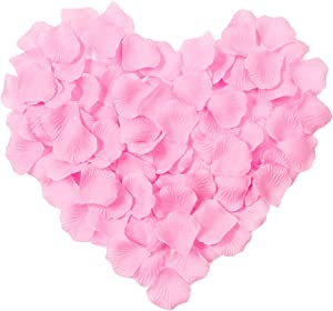 Artificial Fake Rose Petals 3000 PCS, CATTREE Silk Flowers Faux Petal for Romantic Night Vase Home Bedroom Decor Wedding Corridor Bridal Decorations for Bath Wholesale Party Ceremony - Pink