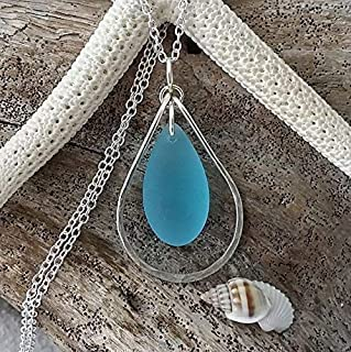 product image for Handmade in Hawaii, Hammered wire loop turquoise bay blue sea glass necklace, (Hawaii Gift Wrapped, Customizable Gift Message)