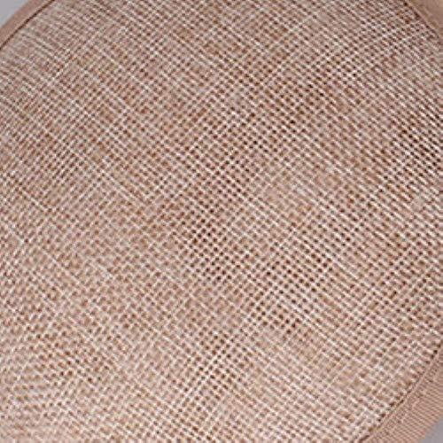 FHKGCD Señoras Pink Bridal Derby Pillbox Sombreros con Pluma Flor Imitación Sinamay Sombrero Accesorios para El Cabello De La Boda, Caqui,