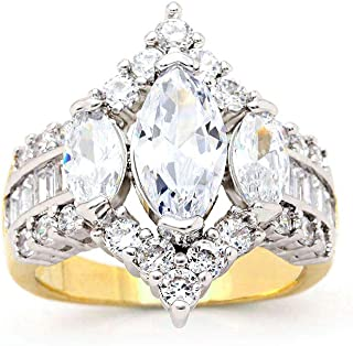 Engagement Rings Inspired by Royal Wedding: 3 Stone Cubic Zirconia Crown & Simulated Gemstone Promise Ring: 18K Yellow Gold, 18K Rose Gold & Rhodium Plating, Size 5-10
