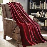 JML Throw Blankets for Couch, Fleece Throw Blanket - Soft Warm, Lightweight Plush Throw Blanket for Bed, Sofa, Chair, Travel, All Season Use, 50'x60', Burgundy