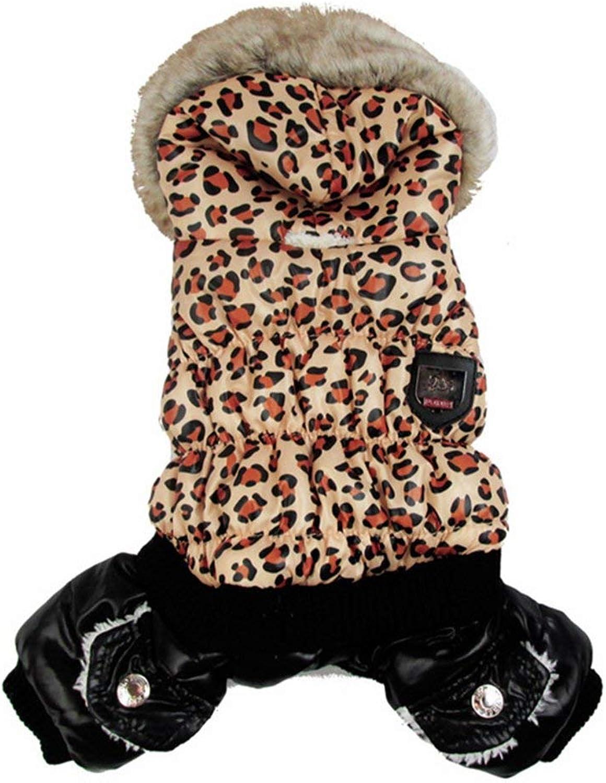 LLYU Leopard Print Winter Warm Dog Coat Jacket Snowsuit Clothes (Size   XL)