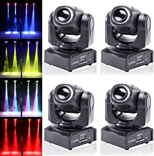 4pcs One Set Stage Lights, 50W Portable LED Spot Moving Head RGBW 4 Color Light with Colorful Ring 10/12 Channels for Party Disco Dj Show DMX-512 by U`King