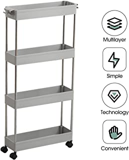 scaffale cucina,carrello salvaspazio,4 Piani Organizzatore Mobile per scaffali per la cucina Office Bagno Camera da letto