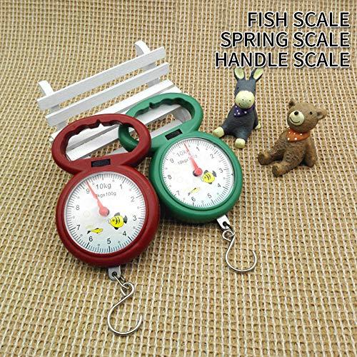 Mini báscula digital de 10 kg para equipaje de pesca, peso de viaje, barra de acero colgante, gancho electrónico, báscula, herramienta de peso de cocina, rojo