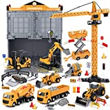 Construction Truck Toys with Crane, 81pcs Kids Alloy Engineering Vehicle Sets, Tractor Trailer Excavator Dump Wheel Loader Cement Forklift, Cars for 3 4 5 6 Years Old Xmas Birthday Gift Toddler Boys