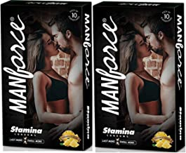 Manforce More Long Lasting Extra Dotted Stamina Pineapple Flavor Condoms - Set Of 2 (20 Condoms)