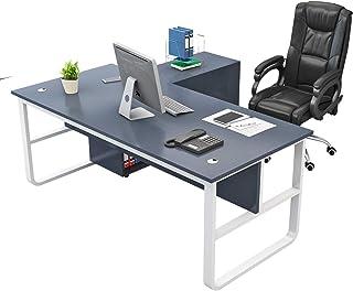 Bureau d'ordinateur en forme de L, bureau d'angle en bois avec armoire latérale, cadre en acier stable en forme de U, défl...