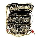 Purpledip Potli Sac à main avec cordon de serrage pour femme avec fil doré complexe et broderie à sequins, couleur noire (10037)