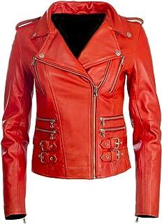 2ac69c10f9f Aviatrix Women's Real Leather Cross-Zip Multi-Zip Biker Jacket (AGSM)