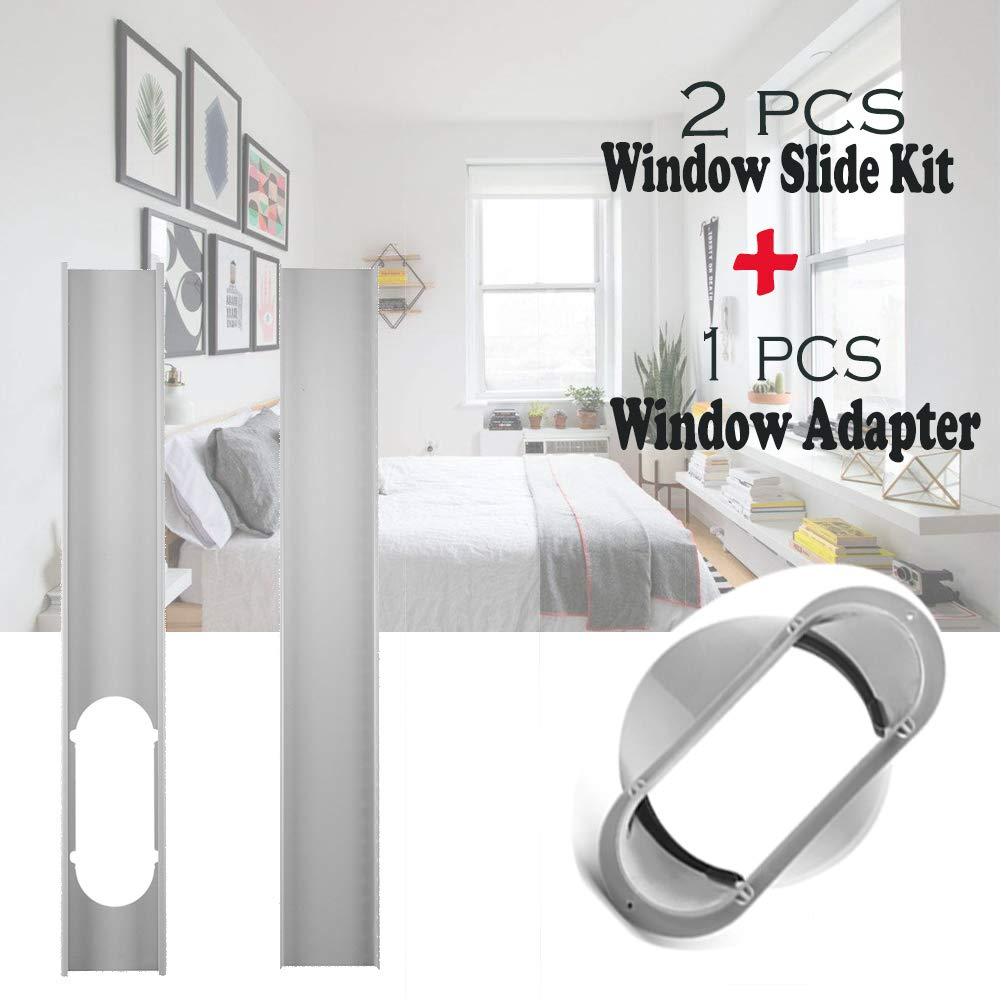 1 juego de 2 piezas de placa deslizante para ventana, kit de placa ajustable para ventana y adaptador de ventana de 6 pulgadas, conector de tubo portátil para aire acondicionado: Amazon.es: Bricolaje