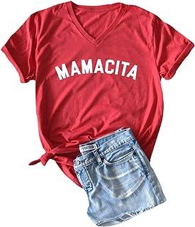 EXMIUN Mamacita Shirt Women Short Sleeve Letter Print Funny Tee V Neck Casual Tops Blouse Red