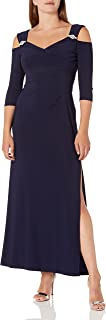 R&M Richards Women's Plus Size Empire Waist Cold Shoulder with Sleeves Large