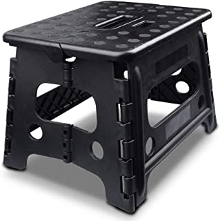 Usmascot Non-Slip Folding Step Stool, Patented Locked Device, Sturdy & Safe - Holds up to 350 Lb - 9 inch Footstool for Adults or Kids, Fold Stools for Kitchen,Toilet,Camping ect. (Black New, 9 inch)