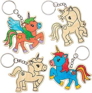 Baker Ross Kits de llaveros de madera con forma de unicornio (Pack de 4) - Actividad de manualidades infantiles para decorar y colgar en llaveros y bolsas