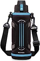 アイリスオーヤマ 水筒 1リットル 直飲み スポーツドリンク対応 真空断熱 保冷 簡単ロック ワンタッチオープン 男の子 女の子 大人 ブルー DB-1000