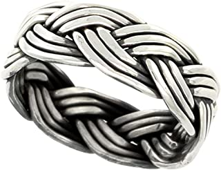 Sterling Silver Wire Braided Ring Handmade 5/16 inch wide