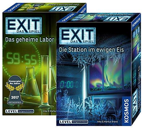 Exit Kosmos Spiele 692742 Spiel: Das geheime Labor + Kosmos Spiele 692865 Spiel: Die Station im ewigen Eis, 2 Escape Room Spiele für Zuhause, Level Fortgeschrittene