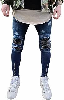 iHAZA Uomo Denim Ricamo Cotone Dritto Buco Tasca Pantalone Jeans Pantalone in Difficolt/à