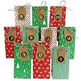 Calendario dell'avvento in carta da riempire, 24 sacchetti regalo stampati e 24 adesivi con numeri e nastro di iuta, motivo rosso verde, per fai da te e regalare, Natale 2020