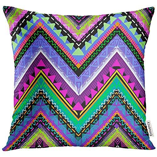 QDAS kussensloop, kleurrijk, Bohemien Tribale Azteco Boho Neon Luminoso badpak, kussensloop, decoratief, vierkant