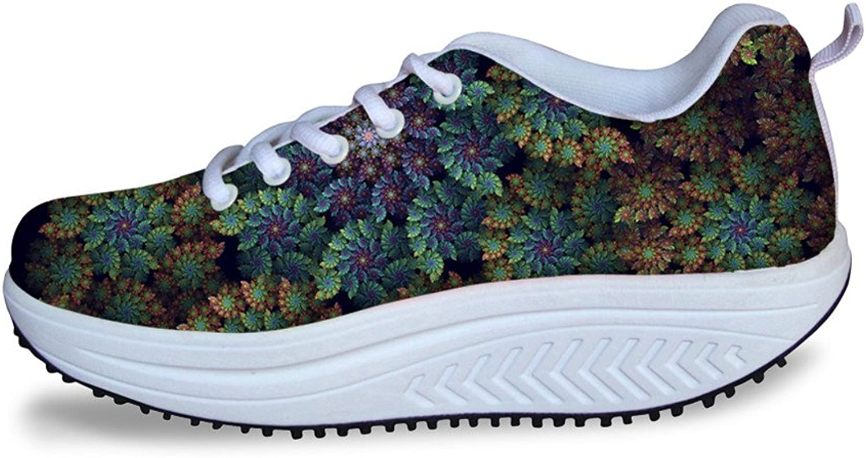 DeePrint Vintage Floral pink Print Swing Strength Fitness shoes Walking Sneaker Platform shoes