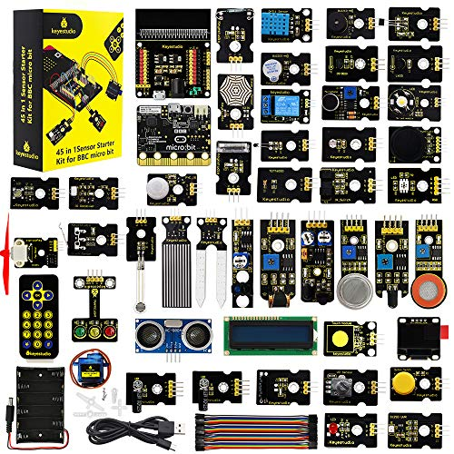 KEYESTUDIO BBC Micro:bit with 45 Sensors Module, Microbit Board, Breakout Board, I2C LCD,OLED Display, Water Level,Relay etc. with Tutorials Coding for Kids Teens Adults