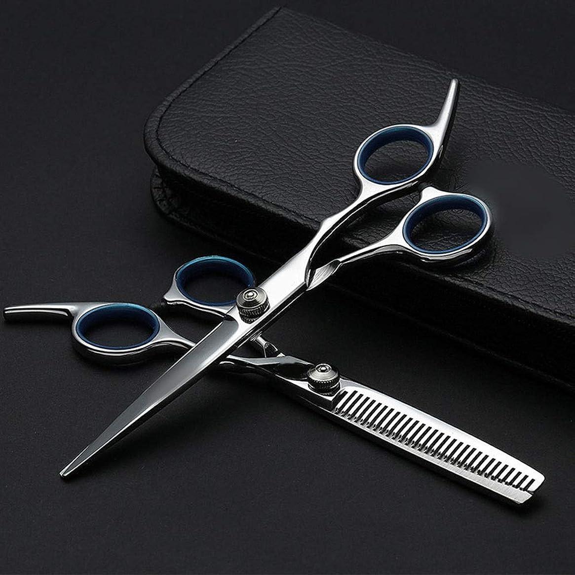 続ける最も遠い休暇6インチプロフェッショナル理髪セット、ハサミ+フラットハサミ モデリングツール (色 : Silver)