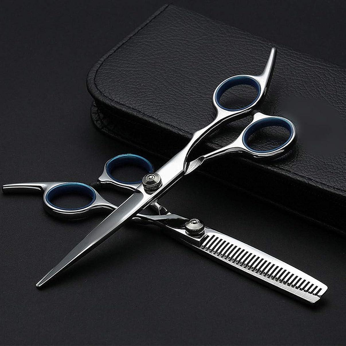 メール待つ投票6インチプロフェッショナル理髪セット、ハサミ+フラットハサミ モデリングツール (色 : Silver)