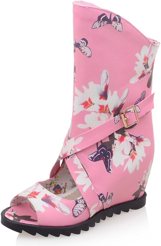 AIWEIYi Womens Print Wedge Heel Platform Summer Boots Black