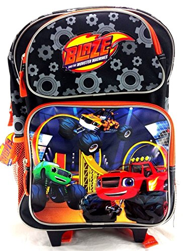 Blaze and the Monster Machines 16' Canvas Black & Orange School Rolling Backpack