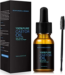 Heyeam 100% Castor Oil Eyelash Nourishing Essential Oil with Brush Stimulate Growth for Eyelashes Eyebrows Hair Lash Growt...