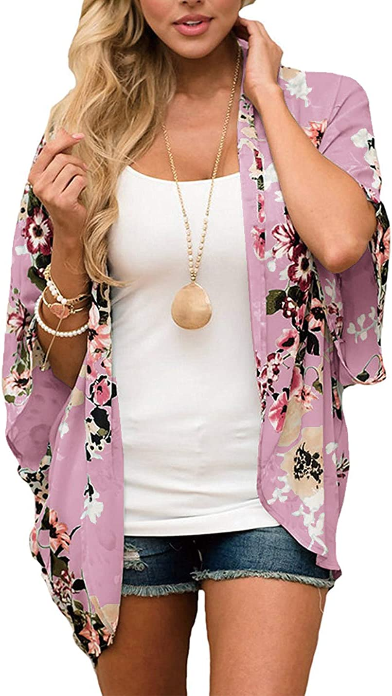 Omoone Women's Batwing Sleeve Floral Chiffon Cardigan Kimono Beachwear Cover Up
