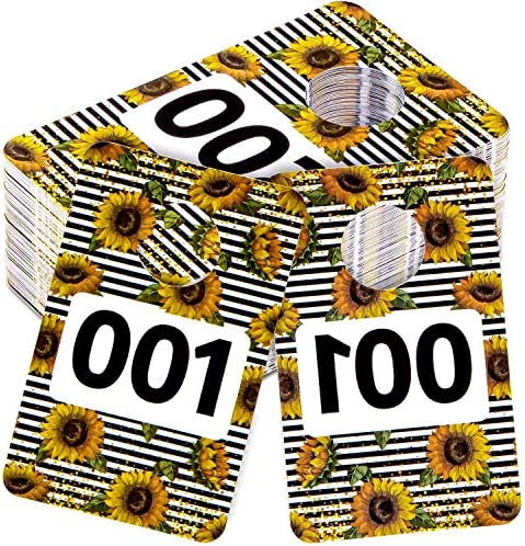 Whaline Live Number Tags 2 x 3 Large Tag Numbers Fall Sunflower Plastic Number Tags Reusable product image