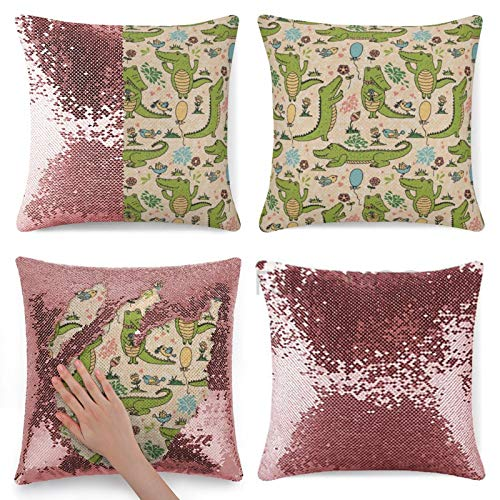 Flip Sequin Pillow Case Cover, Alligator Happy Party with Dancing Crocodiles Flower Field And Balloons Birthday Cartoon Mermaid Sequin Pillow Cover, Magic Reversible Cushion Sequin Pillowcase