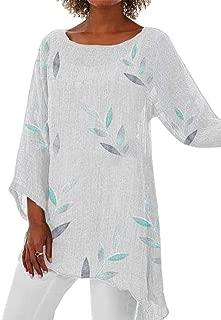 neveraway Women T Shirts Irregular 3/4 Sleeve Floral Long Blouses Tops