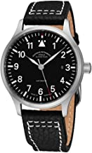 Muhle Glashutte Terrasport II Mens Automatic Pilot Watch - 40mm Black Face with Luminous Hands and Sapphire Crystal - Black Leather Band Precision Watch Made in Germany M1-37-44 LB