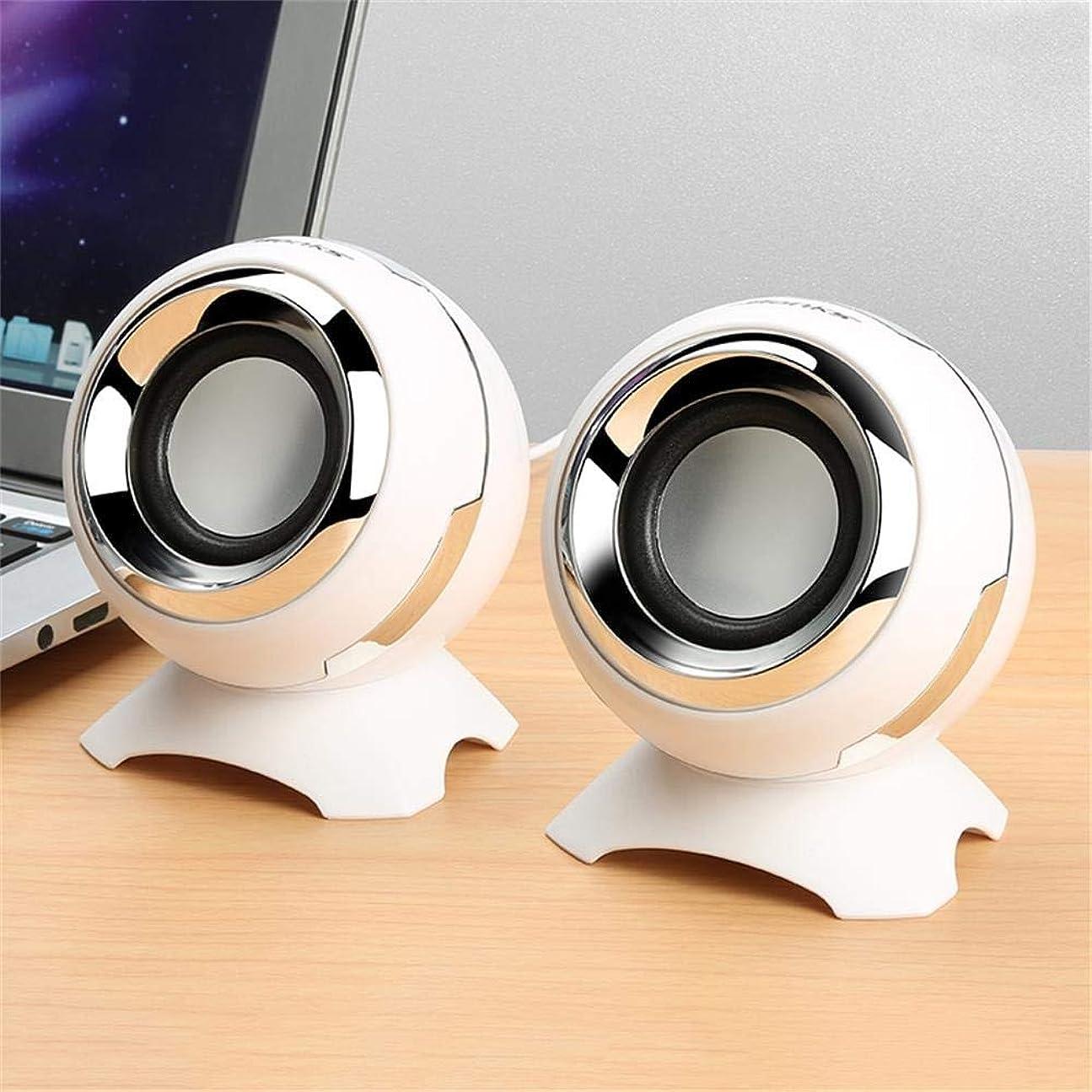 肺モットー負担SUON ミニ ポータブル スピーカー ラウドステレオサウンド スピーカー サブウーファー 360度のサラウンドサウンド スピーカー オプションの4色 (Color : White)