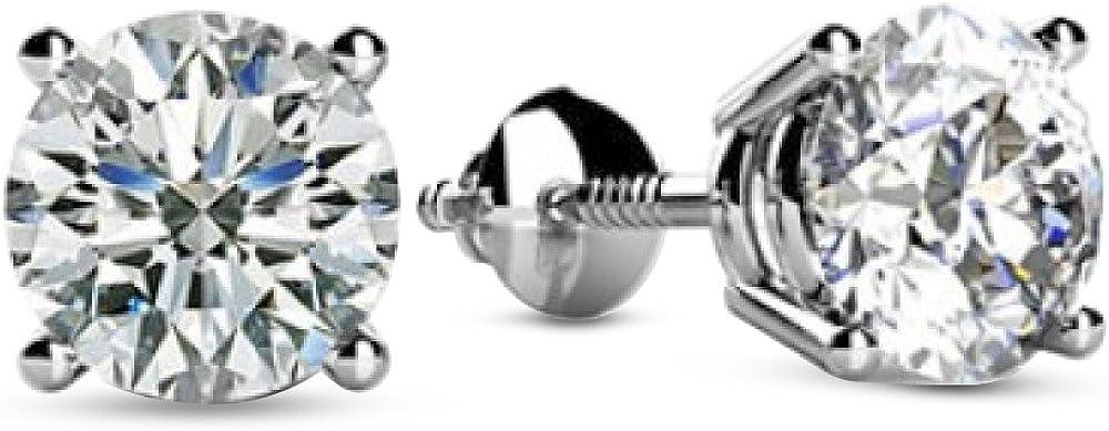 1 unisex 4-4 Carat Ranking TOP12 14K White Gold Screw Valu Diamond Stud Back Earrings