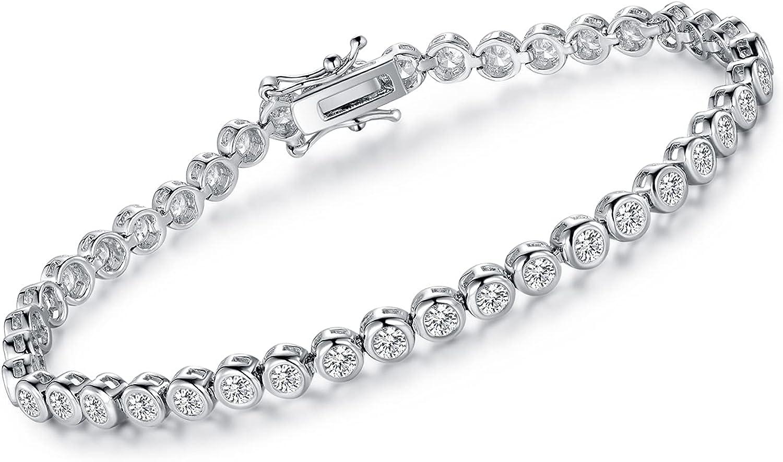 Max 76% OFF White Gold Manufacturer OFFicial shop Plated Tennis Bracelet 18k Charm 7.5 inch B Gemstone