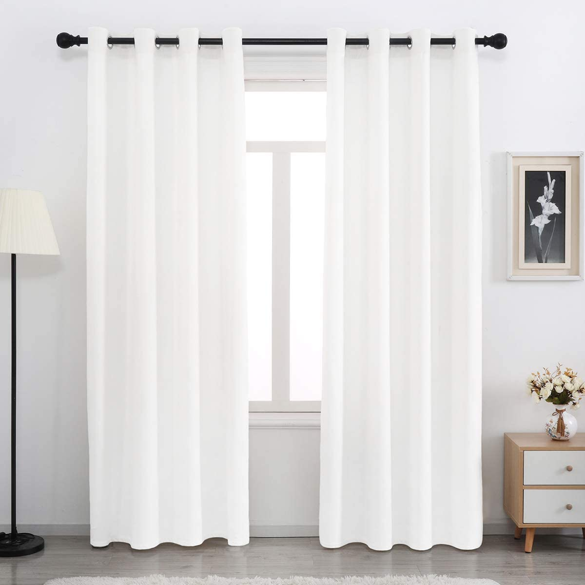 SPXTEX Bleach White Velvet Max 54% OFF Curtains inches Soft 100% quality warranty! Long 96 C