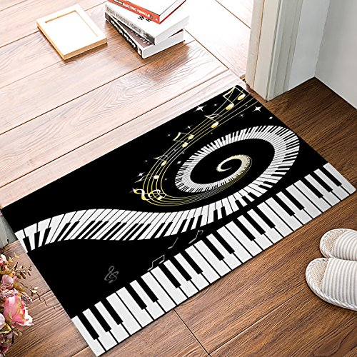 DaringOne Musical Notes with Piano Non-Slip Machine Washable Bathroom Kitchen Decor Rug Mat Welcome Doormat 18x30inch