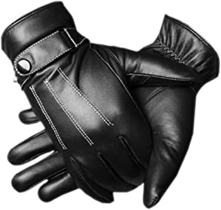 Men's Warm Lambskin Genuine Leather Gloves For Men Winter Driving
