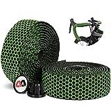 ICOCOPRO Cinta para manillar de bicicleta de carreras, 2 rollos antideslizantes, transpirable, EVA para el manillar, absorción de sudor, cinta autoadhesiva y amortiguadora de golpes, color verde