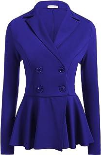 Lrady Women's Casual Wor Blazer Jacket Peplum Notch Lapel Office Cardigan Suit