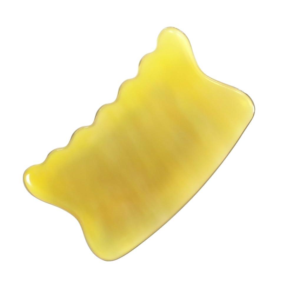 襟証明書地上でかっさ プレート 希少68 黄水牛角 極美品 曲波型